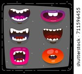 funny monster open mouths ... | Shutterstock .eps vector #711596455