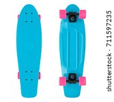 blue skateboard on a isolated... | Shutterstock . vector #711597235