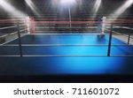 empty boxing ring in arena ... | Shutterstock . vector #711601072