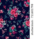 seamless floral pattern in... | Shutterstock .eps vector #711601798
