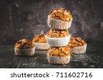 autumn and winter baked... | Shutterstock . vector #711602716