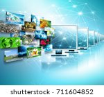 television and internet... | Shutterstock . vector #711604852
