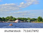 Small photo of View Post MOE in the Kronverksky Strait from the river Neva in the summer in Saint-Petersburg