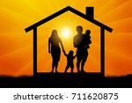 family with two children in the ... | Shutterstock .eps vector #711620875
