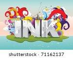 ink text fantasy 3d vector | Shutterstock .eps vector #71162137