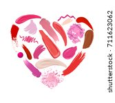 heart of makeup set  strokes... | Shutterstock .eps vector #711623062