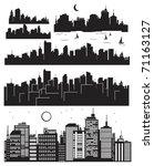 set of vector cities silhouette | Shutterstock .eps vector #71163127
