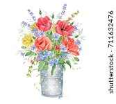 watercolor floral bouquet with... | Shutterstock . vector #711632476