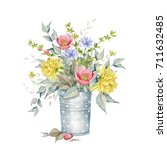 Watercolor Floral Bouquet In...