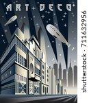 night city. vertical cityscape... | Shutterstock .eps vector #711632956