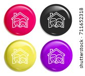 home multi color glossy badge...
