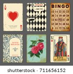 wonderland cards   set of... | Shutterstock .eps vector #711656152
