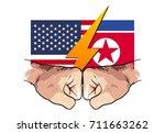 north korea vs america, hand punch drawing | Shutterstock vector #711663262