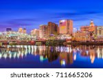 Newark, New Jersey, USA skyline on the Passaic River.