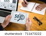 local seo concept business team ... | Shutterstock . vector #711673222