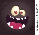 cool cartoon black monster face.... | Shutterstock .eps vector #711680905
