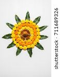 flower rangoli for diwali or... | Shutterstock . vector #711689326