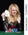 blond woman playing poker | Shutterstock . vector #71169001