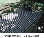black white and grey tablecloth ... | Shutterstock . vector #711696805
