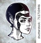 robot or cyborg girl portrait.... | Shutterstock .eps vector #711710446