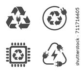 recycle sign  e waste garbage...   Shutterstock .eps vector #711716605