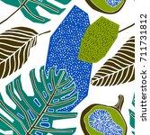 tropical fruits pattern design | Shutterstock .eps vector #711731812