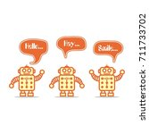 robot regards | Shutterstock .eps vector #711733702
