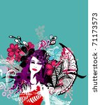 vector floral girl | Shutterstock .eps vector #71173573