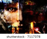 Abstract with face - stock photo