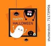 happy halloween card. square... | Shutterstock . vector #711739906