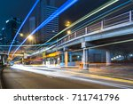 traffic trails in downtown hong ... | Shutterstock . vector #711741796