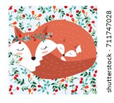 vintage cute lovely mother fox... | Shutterstock .eps vector #711747028