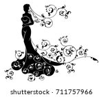 a bride silhouette wedding... | Shutterstock .eps vector #711757966