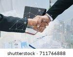 double exposure partners...   Shutterstock . vector #711766888