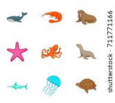 marine fauna icons set. cartoon ... | Shutterstock . vector #711771166