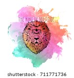 lion head on bright background... | Shutterstock .eps vector #711771736