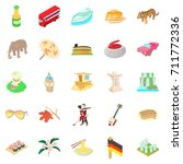 germany icons set. cartoon set