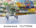medicine inside a mini trolley... | Shutterstock . vector #711779506