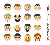 man face avatar icon set with... | Shutterstock .eps vector #711787882