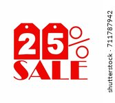 red and white 25 percent off... | Shutterstock .eps vector #711787942
