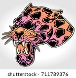 panther's portrait made in an... | Shutterstock .eps vector #711789376