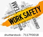 work safety word cloud collage... | Shutterstock .eps vector #711793018