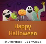 halloween card with zombies and ... | Shutterstock .eps vector #711793816