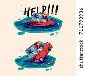 car sinking on water in water.... | Shutterstock .eps vector #711793936