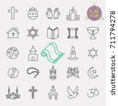 religion line icon set | Shutterstock .eps vector #711794278