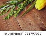 jewish festival of sukkot.... | Shutterstock . vector #711797032