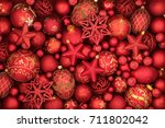 christmas red bauble... | Shutterstock . vector #711802042