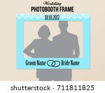 Photobooth Wedding Frame With Date Blue White And Black Colors Vector Template Decorative