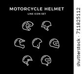 set line icons of motorcycle... | Shutterstock .eps vector #711825112