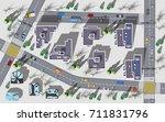 top view new modern block of... | Shutterstock .eps vector #711831796